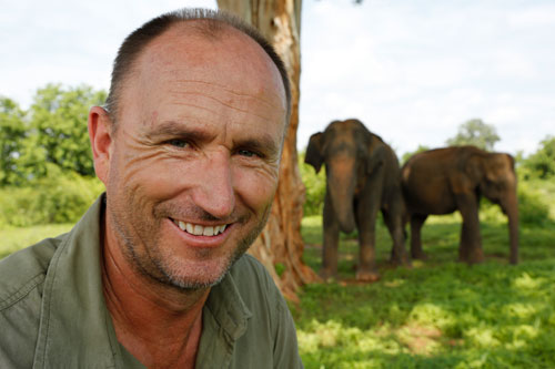 Martyn with elephants
